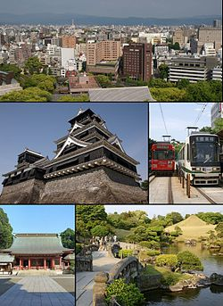 From top left:Central Kumamoto view from Kumamoto Castle, Kumamoto Castle, Kumamoto City Tramway, Fujisaki hachimangu shrine, Suizenji jojuen
