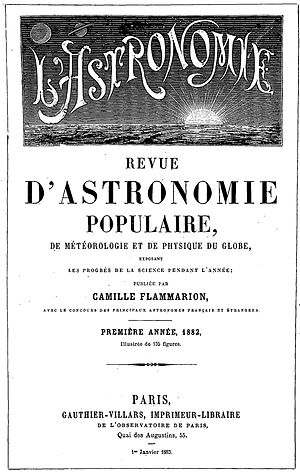 Société astronomique de France - First issue of L'Astronomie magazine (1882)
