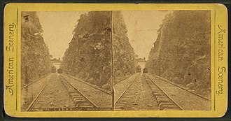 Lehigh Coal & Navigation Company - Image: L. & S. R. R. (Lehigh & Susquehana Railroad) cut, Mauch Chunk, from Robert N. Dennis collection of stereoscopic views