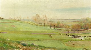 Spring landscape with light green fields; small pond and to the right Mogenstrup