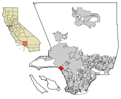 Location of Santa Monica in Los Angeles County, California