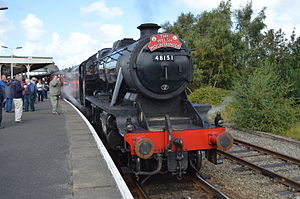 """Conwy Valley line - LMS 8F no 48151 waiting to depart from Llandudno Jcn with """"The Welsh Mountaineer"""" on Tue 19th August 2014."""