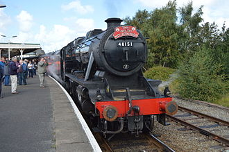 """Conwy Valley line - LMS 8F no 48151 waiting to depart from Llandudno Jcn with """"The Welsh Mountaineer"""" on Tue 19 August 2014."""