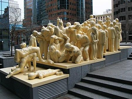 "Raymond Mason, ""La Foule illuminée"", 1985, Montreal"