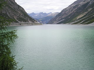 Lago di Livigno reservoir in the Livigno valley
