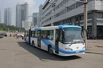 Automotive industry in North Korea - Chollima-091 trolleybus at line