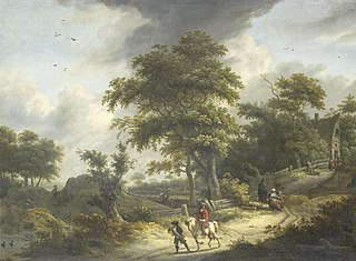 Landscape with falconer