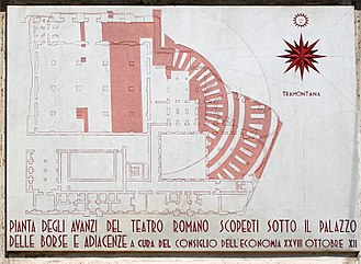 Palazzo Mezzanotte - The plaque showing the plan of the Roman theatre found during the excavations for Palazzo Mezzanotte