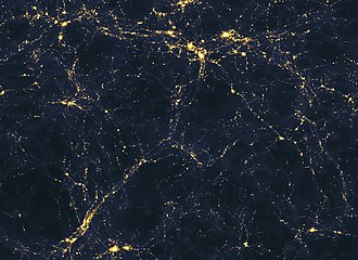 Observable universe - Computer simulated image of an area of space more than 50 million light-years across, presenting a possible large-scale distribution of light sources in the universe—precise relative contributions of galaxies and quasars are unclear.
