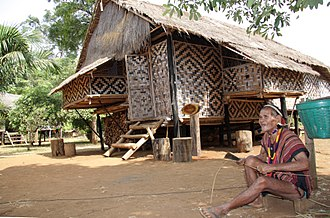 Laotian society - Traditional house in Sekong Province Laos