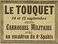 Le Grand écho du Nord - annonce d'un grand carrousel militaire au Touquet les 14 et 15 septembre 1929.jpg