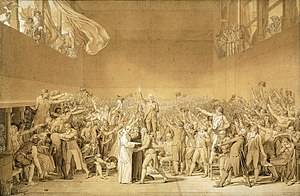 The focus of the chalk drawing is at the center, where one man is standing on a table. Below him, three men are grouped together, joining hands. Around them are dozes of men, with their hands upraised. People look in from the windows.