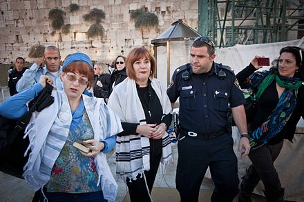 Women detained at Western Wall for wearing prayer shawls; photo from Women of the Wall Lesley and Rachel Detained.jpg