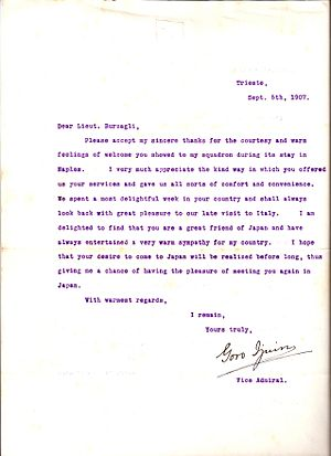 Ijuin Gorō - Letter from Vice Admiral Ijūin Gorō to Italian Royal Navy Lieutenant Ernesto Burzagli thanking him for courtesies extended to the Imperial Japanese Navy Second Fleet which visited Italy in 1907.