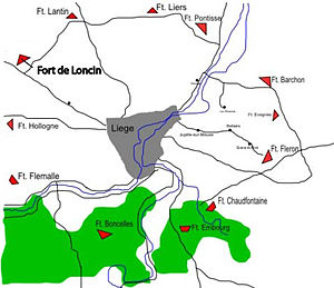 Fort de Loncin - The Liège forts, with the Fort de Loncin highlighted