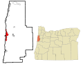 Lincoln County Oregon Incorporated and Unincorporated areas Newport Highlighted.svg