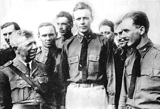 Air National Guard - Captain Charles A. Lindbergh, Missouri National Guard, and members of his National Guard unit, 110th Observation Squadron, after he flew solo across the Atlantic Ocean, 1927.