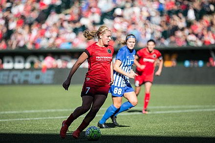 Horan with Portland Thorns in 2016 Lindsey Horan 2016-09-04 (29176894880).jpg