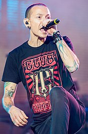 Chester Bennington performing with Linkin Park at Rock im Park, 2014.