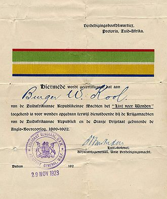Lint voor Verwonding - Later version of the certificate of the Lint voor Verwonding, awarded to Burger W. Kool of the ZAR forces