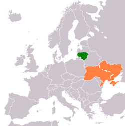 Map indicating locations of Lithuania and Ukraine