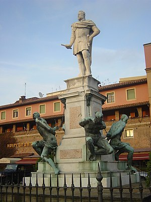 Ferdinando I de' Medici, Grand Duke of Tuscany - Pietro Tacca's Monumento dei Quattro Mori (Monument of the Four Moors) in Leghorn, showing Ferdinando holding baton of a field marshal standing victorious above chained Moorish captives. (1623)