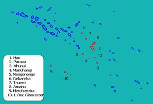 Hao (French Polynesia) - Image: Localitzación de Hao en las Tuamotu