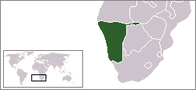 A map showing the location of Namibia