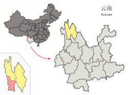 Location of Weixi County (pink) and Diqing prefecture (yellow) within Yunnan province of China