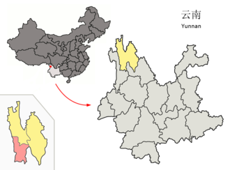 Weixi Lisu Autonomous County - Image: Location of Weixi within Yunnan (China)