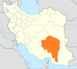 Map of Iran with Kerman highlighted