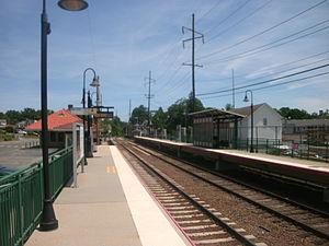 Locust Valley (LIRR station) - Facing Oyster Bay-bound on the Jamaica-bound platform at Locust Valley in June 2012.