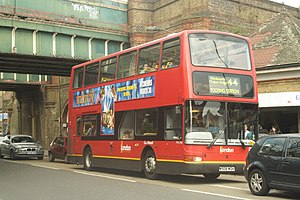 London Buses route 44 - London General Plaxton President bodied Volvo B7TL at Earlsfield station in April 2007