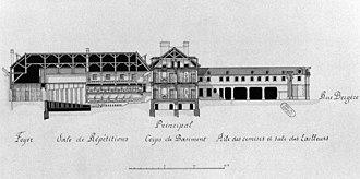 Menus-Plaisirs du Roi - Image: Long section of the Hôtel des Menus Plaisirs (Rue Bergère) Gourret 1985 p 83