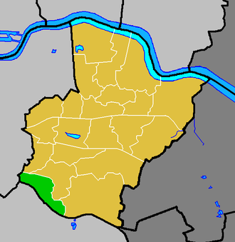 Longlands - Longlands ward (green) within the London Borough of Bexley (yellow)