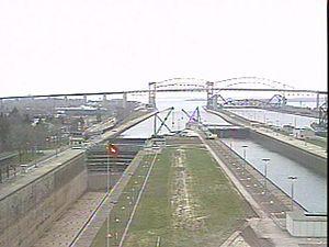 Sault Ste. Marie International Bridge - Image: Looking west soo locks international bridge