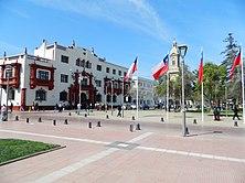 Los tribunales de justicia, La Catedral y la Plaza de armas.jpg