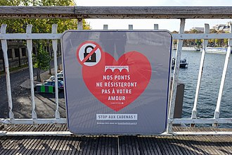 Love lock - Love without locks campaign, Passerelle Debilly, Paris
