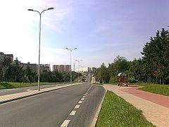 Widok na nowy odcinek ul. Roztocze w 2013 roku