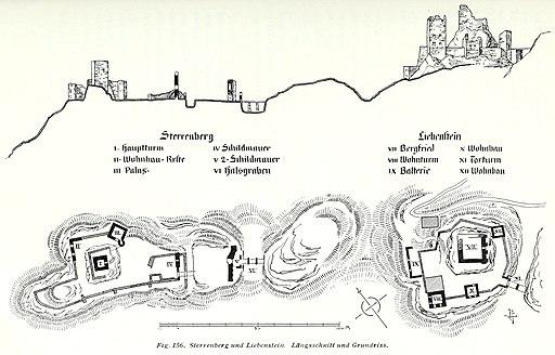 Luthmer V - 156 - Sterrenberg und Liebenstein Längsschnitt und Grundriss