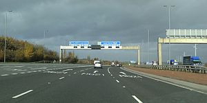 M1 motorway - The M1 and M621 interchange on the north bound carriageways at Leeds