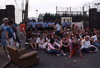 History of the Ministry of Defence Police - MDP face a protest from Peace Women at USAF Greenham Common in 1982