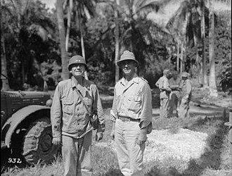 Harold Barrowclough - Barrowclough (right), with Major General Oscar Griswold, commander of XIV Corps, Vella Lavella, 1943