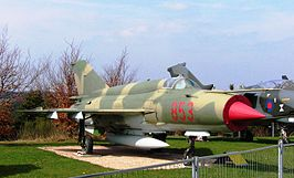 De MiG-21 MF in de Flugausstellung L. + P. Junior (19 april 2006)