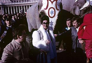 Moira Orfei in piazza San Pietro con gli animali del circo per la benedizione del Papa nel 1986.