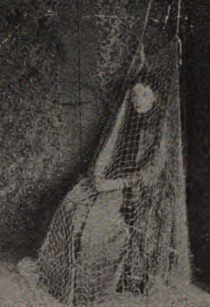 Mme. d'Esperance - Mme. d'Esperance covered in a net, as a control in a séance experiment.