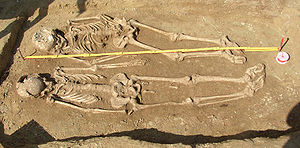 Grave field - Remains of two girls buried in the same grave, 6th- to 7th-century grave in Sasbach.