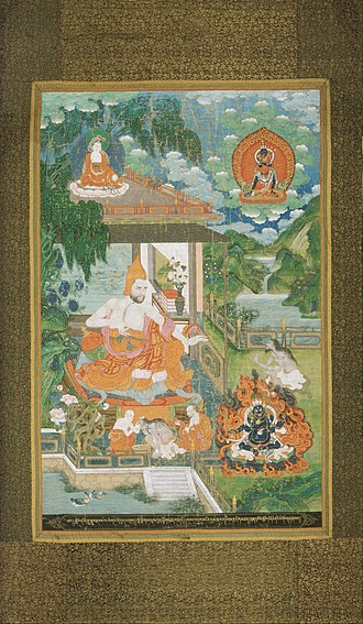 Bhāviveka - Image: Maker unknown, Sino Tibetan Acarya Bhavaviveka Converts a Nonbeliever to Buddhism Google Art Project