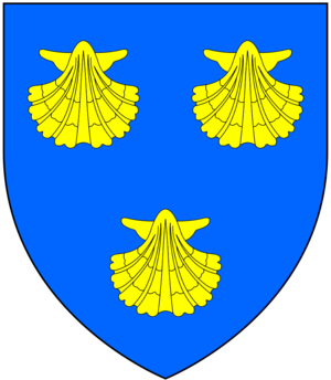 Malet baronets - Arms of Mallet: Azure, three escallops or