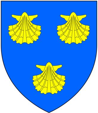 Edward Malet - Arms of Mallet: Azure, three escallops or